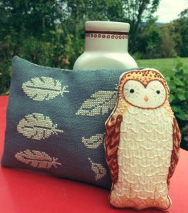 Owl and cross-stitch lavender sachet
